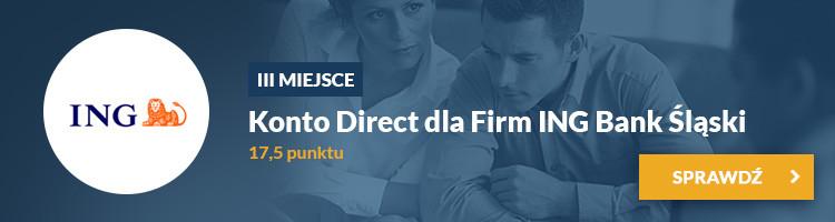 III miejsce - Konto Direct dla Firm ING Bank Śląski